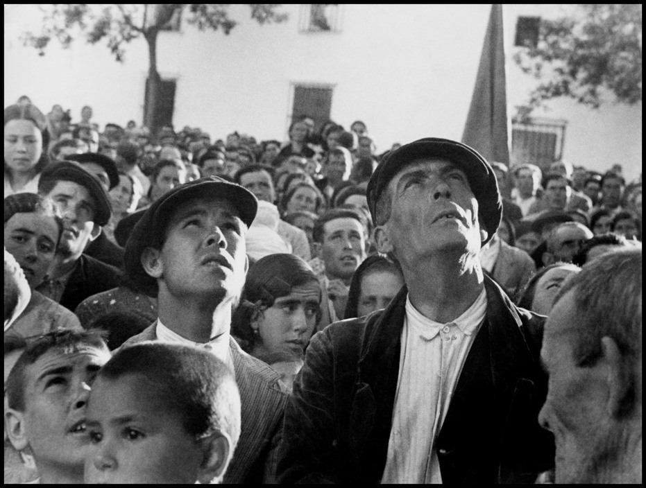 SPAIN. Late April-early May, 1936. The Spanish Civil War. Crowd at a land reform near Badajoz.