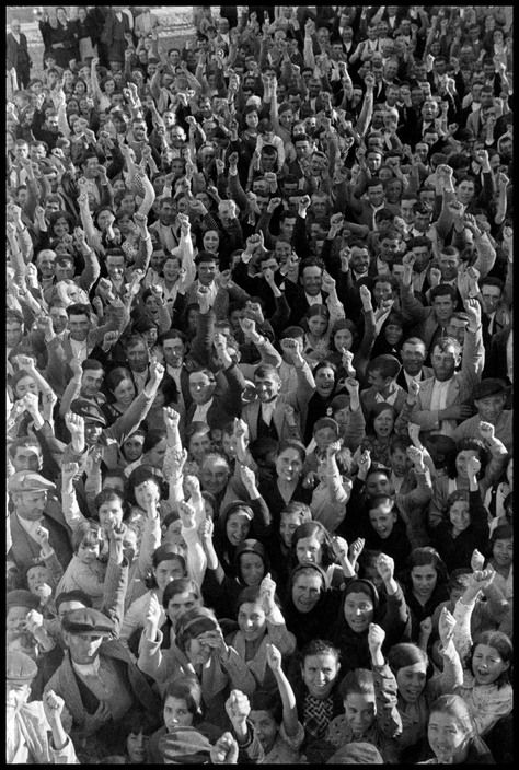 SPAIN. Estremadura. Badajoz. April–May 1936. Crowd at a land reform meeting.