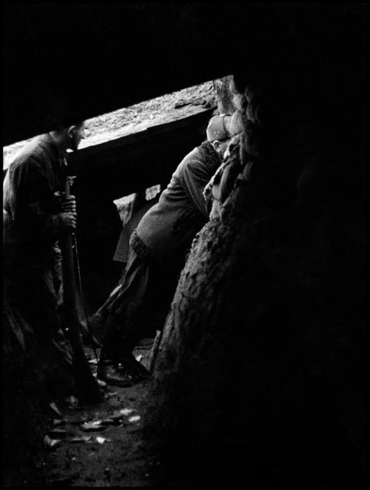 SPAIN. Asturias. Oviedo. January–February 1937. Republican soldiers in trenches.