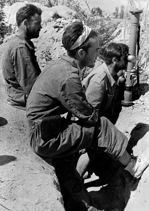 Republican soldiers in trench, Battle of Brunete, Spain, July 1937