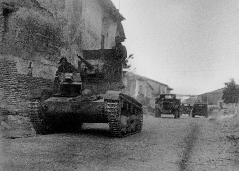 Tank and other military vehicles, Battle of Brunete, Spain, July 1937