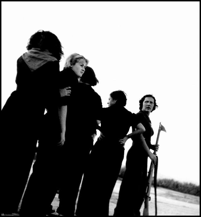 SPAIN. August 1936. Republic militiawomen training on the beach, outside Barcelona,