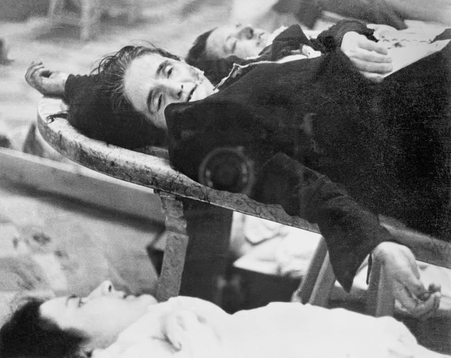 SPAIN. Spanish Civil War (1936-9) Madrid. Winter 1936/37. After the Italo-German air raids. The Nationalist offensive on Madrid, which lasted from Nov. 1936 to Feb. 1937, was one of the fiercest of the Civil War. During this period Italy and Germany started helping the Nationalist forces, and the USSR the Popular Front government. The civilians were severely affected by the bombings.  Madrid. Hiver 1936-37. Victimes des bombardements de l'aviation fasciste italo-allemande. The Spanish Civil War broke out in 1936, when part of the Spanish army rebelled against the Second Republic, a democratic government elected in 1931. It gained international dimensions when Fascist Germany and Italy began supporting the military uprising, led by General Franco, with weapons and soldiers. The USSR helped the Republic, and a significant contingent of volunteers joined the International Brigades and fought for the Republic. The conflict became the symbol of a larger conflict between Fascists and Communists. The war ended in 1939 with Franco's victory over the Republicans.