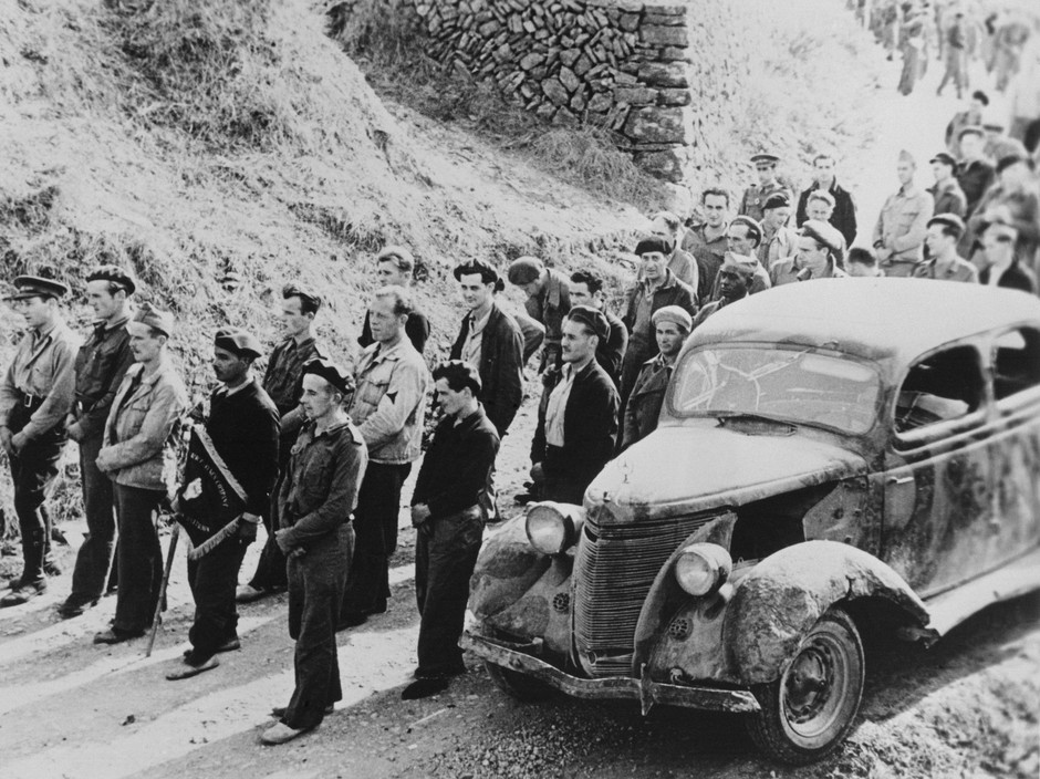 SPAIN. Spanish Civil War (1936-9)  ICP 249 Falset. Near Barcelona. October 28th, 1938. Members of the International Brigades being reviewed. They would soon leave Spain, having been dismissed by the Republican government, as a consequence of Stalin's friendship with Germany.