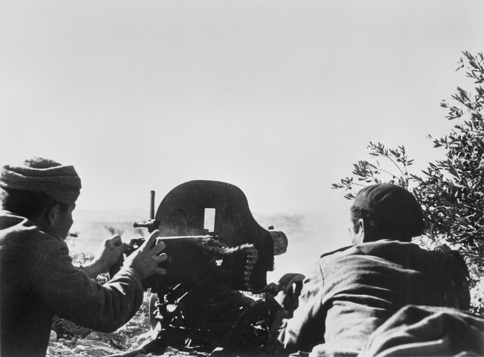 SPAIN. Spanish Civil War (1936-9)  ICP 266 Near Fraga, the Aragon front. November 7th, 1938. Loyalist troops during an offensive on the Rio Segre.