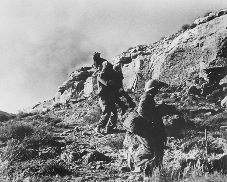 SPAIN. Spanish Civil War (1936-9)  ICP 272 Near Fraga, the Aragon front. November 7th, 1938. Loyalist troops during an offensive along the Rio Segre.