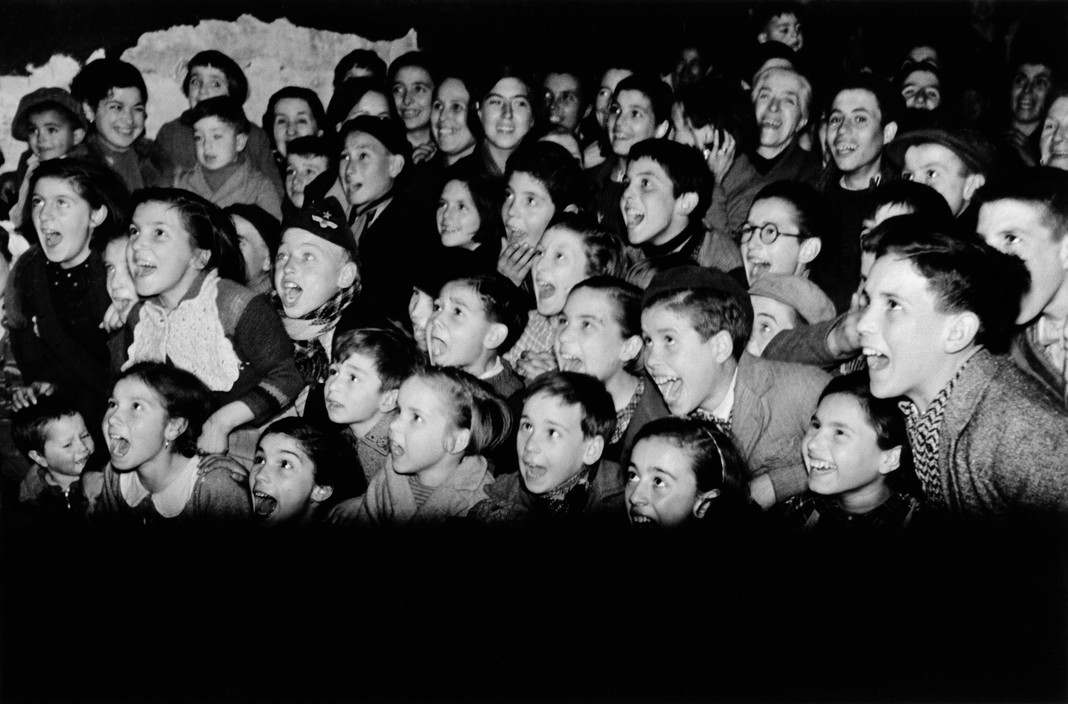 SPAIN. Spanish Civil War (1936-9)  icp 283 Barcelona. January 1939. Entertainment for children who were being evacuated from the city, which was being bombed by fascist planes, as General Franco's fascist troops rapidly approached.