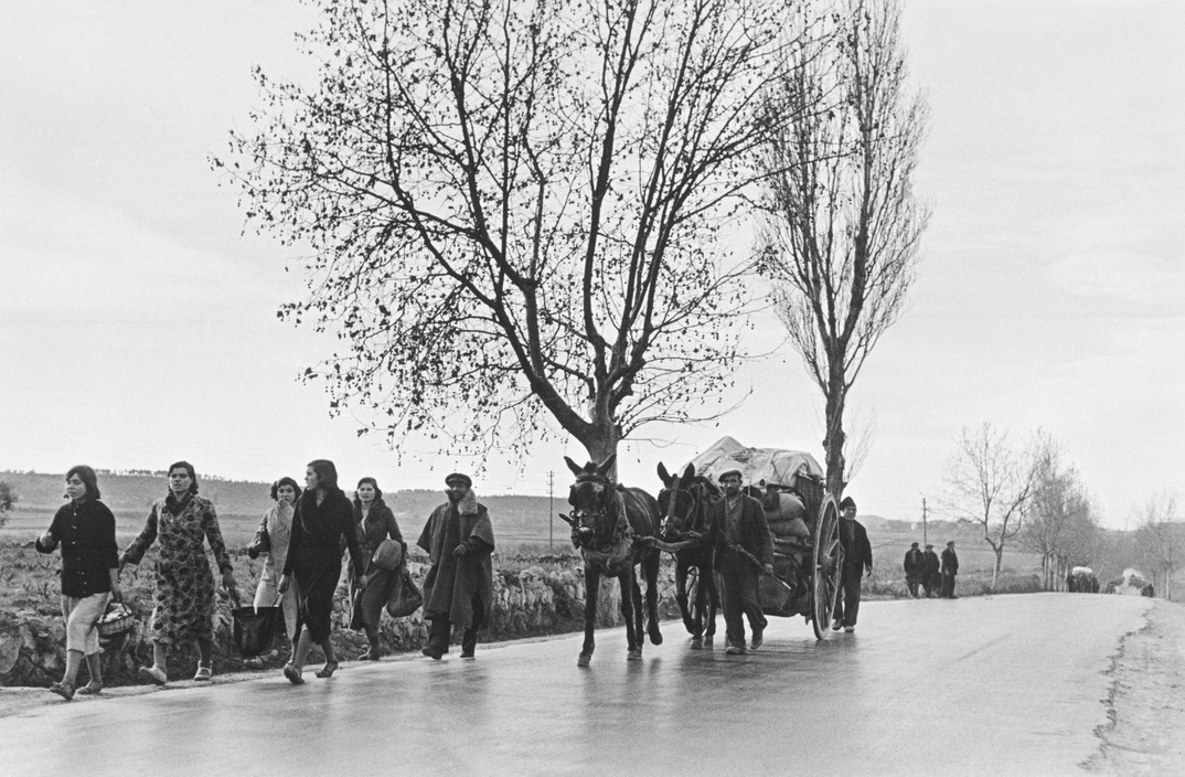 FRANCE. Spanish Republicans during Spanish Civil War (1936-39).  icp 294 SPAIN. On the road from Tarragona to Barcelona. January 15th, 1939. People from Tarragona seeking refuge in Barcelona, before the evacuation of the city. Many of them were killed or lost their belongings during fascist air raids.