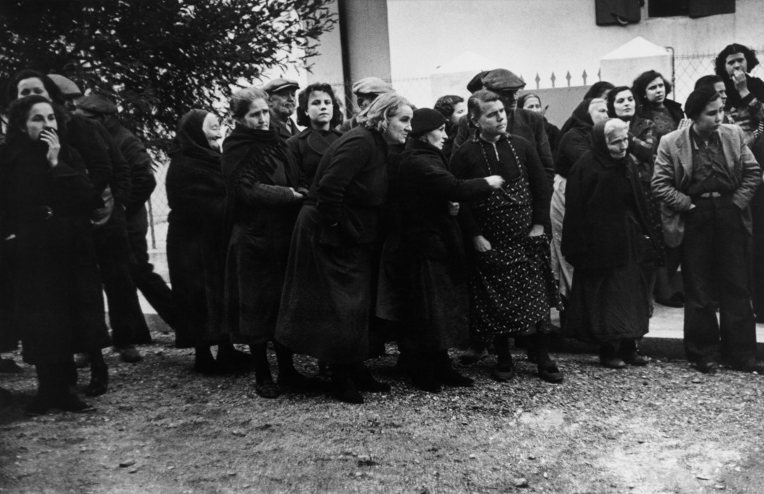 SPAIN. Spanish Civil War. 1939.  The border with France. January 25th-27th, 1939. A groups of refugees. After the fall of Barcelona, but also fascit rule over all of Spain clearly imminent, about 500 000 Spanish civilians sought refuge and political asylum in France. France set up camps along the borders in the Pyrénées Orientales region. 500,000 people were exiled. France set up camps along the borders in the Pyrénées Orientales region.   The Spanish Civil War broke out in 1936, when part of the Spanish army rebelled against the Second Republic, a democratic government elected in 1931. It gained international dimensions when Fascist Germany and Italy began supporting the military uprising, led by General Franco, with weapons and soldiers. The USSR helped the Republic, and a significant contingent of volunteers joined the International Brigades and fought for the Republic. The conflict became the symbol of a larger conflict between Fascists and Communists. The war ended in 1939 with Franco's victory over the Republicans.