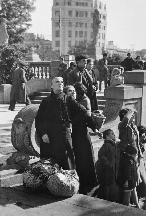 SPAIN. Spanish Civil War (1936-9).  icp 278 Barcelona. January, 1939. Watching an air battle over the city, which was being bombed heavily by fascist planes, as General Franco's fascist troops rapidly approached.