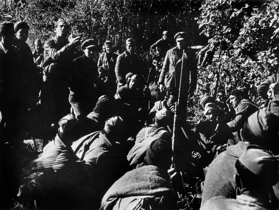 SPAIN. Spanish Civil War (1936-9)  icp 255 Near Fraga. The Aragon front. November 7th, 1938. Officers addressing troops before the Loyalist offensive along the Rio Segre.