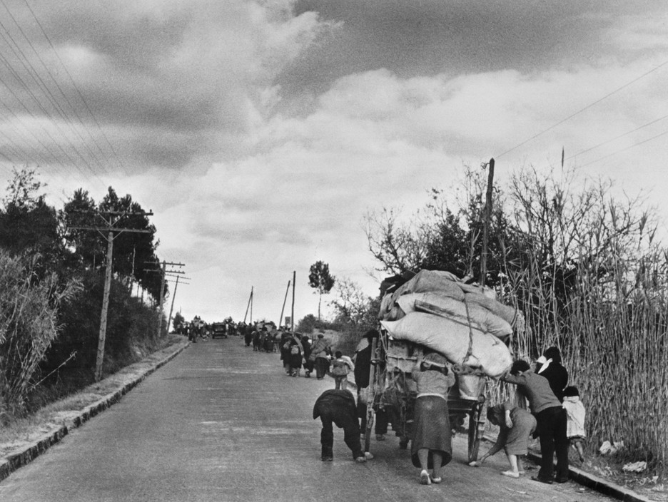 FRANCE. Spanish Republicans during Spanish Civil War (1936-39).  icp 296 SPAIN. On the road from Barcelona to the French border. January 25th-27th, 1939. After the fall of Barcelona, Spanish civilians and Republican soldiers sought refuge and political asylum in France. France set up camps along the border in the Pyrenees Orientales region.