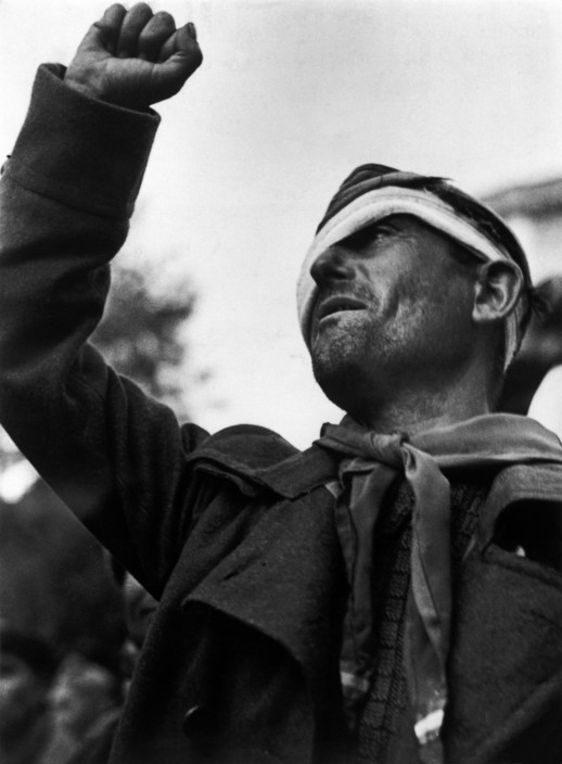 SPAIN. Spanish Civil War (1936-39). Montblanch. Near Barcelona. October 25th, 1938. Bidding farewell to the International Brigades, which were dismissed by the Republican government, as a consequence of Stalin's friendship with Germany. The Spanish Civil War broke out in 1936, when part of the Spanish army rebelled against the Second Republic, a democratic government elected in 1931. It gained international dimensions when Fascist Germany and Italy began supporting the military uprising, led by General Franco, with weapons and soldiers. The USSR helped the Republic, and a significant contingent of volunteers joined the International Brigades and fought for the Republic. The conflict became the symbol of a larger conflict between Fascists and Communists. The war ended in 1939 with Franco's victory over the Republicans.
