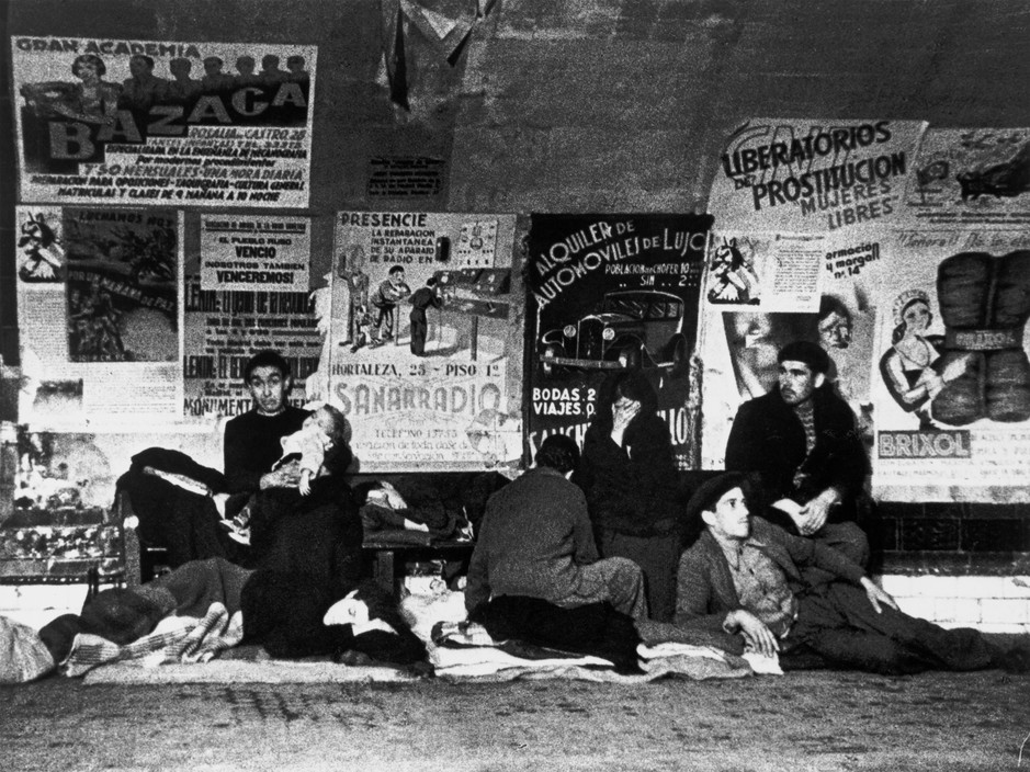 SPAIN. Spanish Civil War (1936-9)Madrid. November/December, 1936. During the Italo-German air raids, many people took shelter in the subway stations. The Nationalist offensive on Madrid, which lasted from Nov. 1936 to Feb. 1937, was one of the fiercest of the Civil War. During this period Italy and Germany started helping the Nationalist forces, and the USSR the Popular Front government. The civilians were severely affected by the bombings.The Spanish Civil War broke out in 1936, when part of the Spanish army rebelled against the Second Republic, a democratic government elected in 1931. It gained international dimensions when Fascist Germany and Italy began supporting the military uprising, led by General Franco, with weapons and soldiers. The USSR helped the Republic, and a significant contingent of volunteers joined the International Brigades and fought for the Republic. The conflict became the symbol of a larger conflict between Fascists and Communists. The war ended in 1939 with Franco's victory over the Republicans.