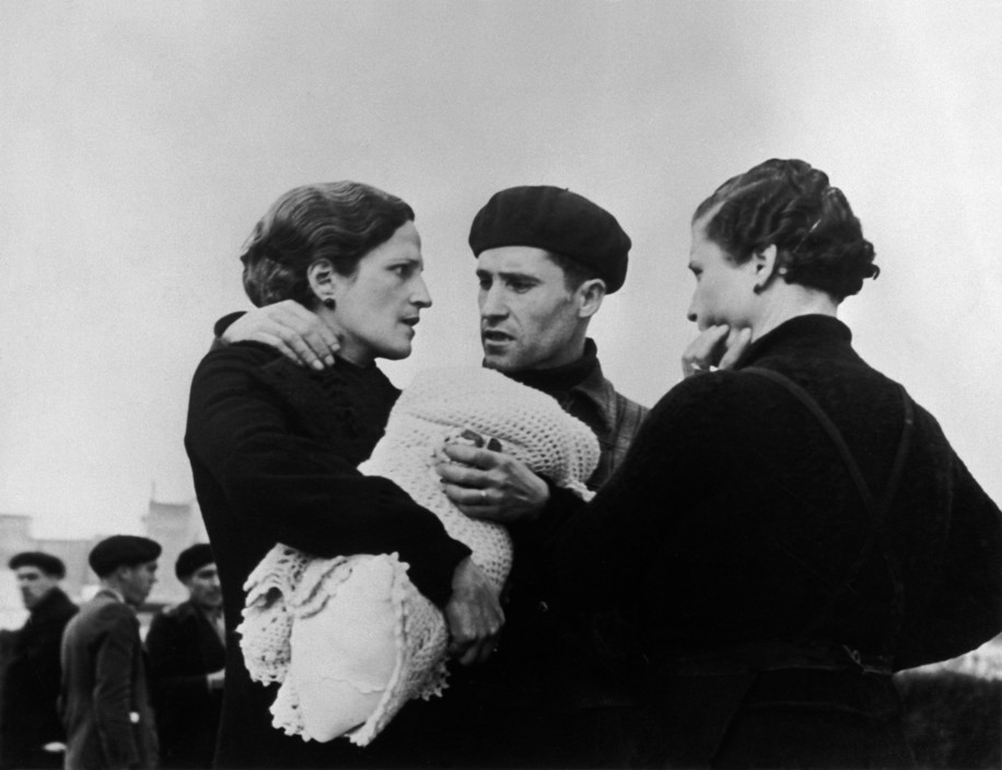 SPAIN. The Spanish Civil War. Barcelona. January, 1939. General mobilisation of all men under the age of 50, as General Franco's troops rapidly approached the city. The Spanish Civil War broke out in 1936, when part of the Spanish army rebelled against the Second Republic, a democratic government elected in 1931. It gained international dimensions when Fascist Germany and Italy began supporting the military uprising, led by General Franco, with weapons and soldiers. The USSR helped the Republic, and a significant contingent of volunteers joined the International Brigades and fought for the Republic. The conflict became the symbol of a larger conflict between Fascists and Communists. The war ended in 1939 with Franco's victory over the Republicans.