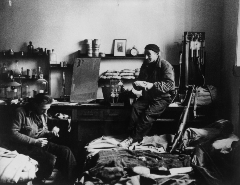 SPAIN. Spanish Civil War (1936-9).  Madrid. November/December, 1936. Members of the International Brigades, in a laboratory of the Medical School at the University of Madrid, in the western outskirts of the capital. The Fascist rebels were mounting a major offense in order to capture Madrid.  The Spanish Civil War broke out in 1936, when part of the Spanish army rebelled against the Second Republic, a democratic government elected in 1931. It gained international dimensions when Fascist Germany and Italy began supporting the military uprising, led by General Franco, with weapons and soldiers. The USSR helped the Republic, and a significant contingent of volunteers joined the International Brigades and fought for the Republic. The conflict became the symbol of a larger conflict between Fascists and Communists. The war ended in 1939 with Franco's victory over the Republicans.