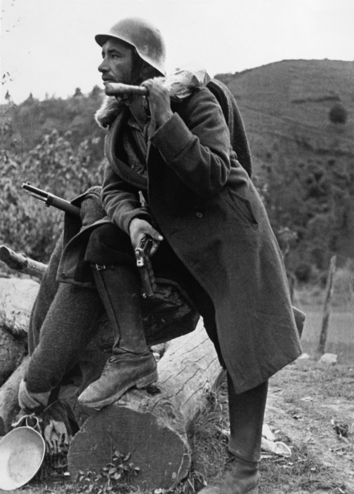 SPAIN. Spanish Civil War (1936/9) ICP 223. Bilbao front. Basque region. May, 1937. Loyalist soldier during the battle of Mount Solluve. Pays Basques. Bilbao. Mai 1937. Soldats républicains pendant la bataille du mont Solluve. The Spanish Civil War broke out in 1936, when part of the Spanish army rebelled against the Second Republic, a democratic government elected in 1931. It gained international dimensions when Fascist Germany and Italy began supporting the military uprising, led by General Franco, with weapons and soldiers. The USSR helped the Republic, and a significant contingent of volunteers joined the International Brigades and fought for the Republic. The conflict became the symbol of a larger conflict between Fascists and Communists. The war ended in 1939 with Franco's victory over the Republicans.