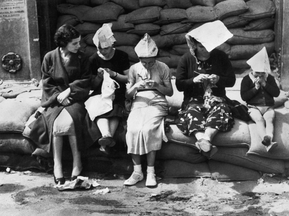SPAIN. Spanish Civil War (1936/9) ICP 227. Bilbao. Basque region. May 1937. Italo-German air raids were so frequent that many people spent all day near the shelters. Pays Basque. Bilbao. Mai 1937. La fréquence des bombardements de l'aviation fasciste italo-allemande interdit à la population de rentrer chez elle entre deux alertes. The Spanish Civil War broke out in 1936, when part of the Spanish army rebelled against the Second Republic, a democratic government elected in 1931. It gained international dimensions when Fascist Germany and Italy began supporting the military uprising, led by General Franco, with weapons and soldiers. The USSR helped the Republic, and a significant contingent of volunteers joined the International Brigades and fought for the Republic. The conflict became the symbol of a larger conflict between Fascists and Communists. The war ended in 1939 with Franco's victory over the Republicans.