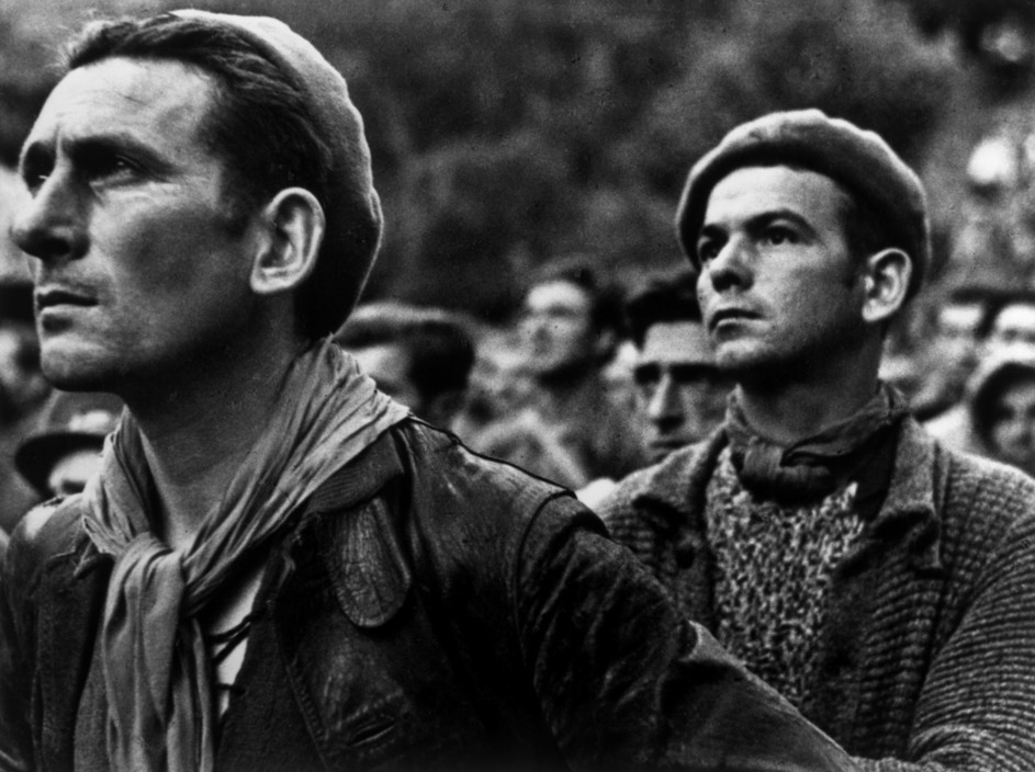 ICP 247. Montblanch. Near Barcelona. October 25th, 1938. Bidding farewell to the International Brigades, which were dismissed by the Republican government, as a consequence of Stalin's friendship with Germany. The Spanish Civil War broke out in 1936, when part of the Spanish army rebelled against the Second Republic, a democratic government elected in 1931. It gained international dimensions when Fascist Germany and Italy began supporting the military uprising, led by General Franco, with weapons and soldiers. The USSR helped the Republic, and a significant contingent of volunteers joined the International Brigades and fought for the Republic. The conflict became the symbol of a larger conflict between Fascists and Communists. The war ended in 1939 with Franco's victory over the Republicans.