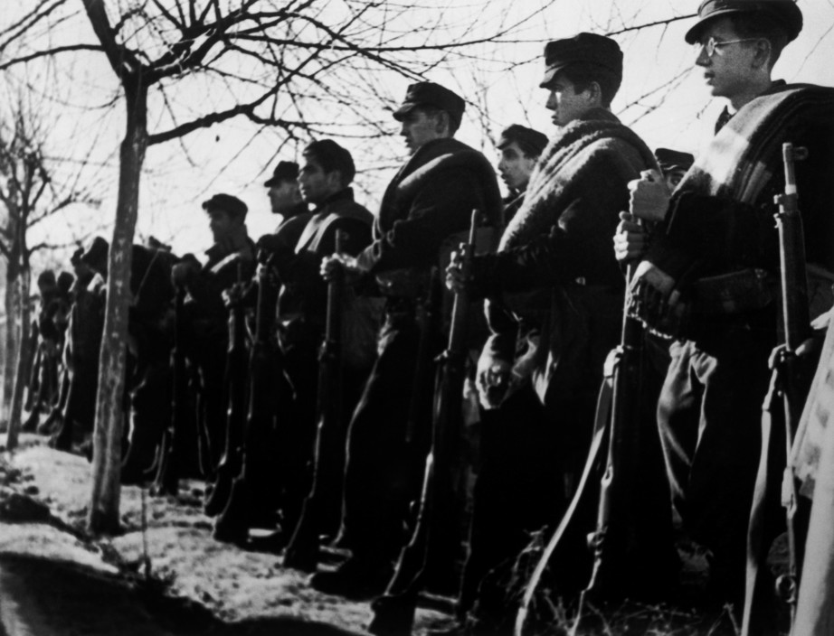 SPAIN. Spanish Civil War (1936-9).  Madrid. November/December, 1936. Members of the International Brigades.   The Spanish Civil War broke out in 1936, when part of the Spanish army rebelled against the Second Republic, a democratic government elected in 1931. It gained international dimensions when Fascist Germany and Italy began supporting the military uprising, led by General Franco, with weapons and soldiers. The USSR helped the Republic, and a significant contingent of volunteers joined the International Brigades and fought for the Republic. The conflict became the symbol of a larger conflict between Fascists and Communists. The war ended in 1939 with Franco's victory over the Republicans.